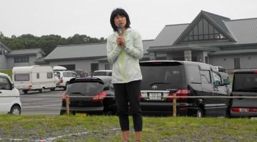 スペシャルゲストはマラソンランナーの谷川真理さん!      開会式では元気のよいスピーチで参加者を励ましてくださいました
