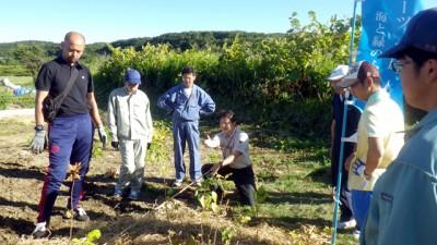 前日研修の様子。林先生のご指導のもと、スタッフで一連の流れを確認しながら植樹を行いました