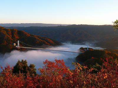 竜神峡紅葉まつりの頃の紅葉。11月13日(日)茨城県民の日は、竜神大吊橋の橋渡料が無料です!
