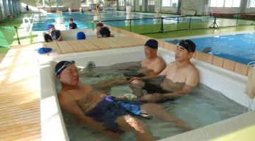 運動後に浴槽でゆったり。冷えた体を温泉で温めます