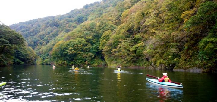 海洋クラブ員を対象にした田沢川ダム源流を目指すカヌーツーリング