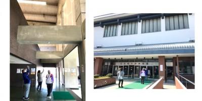 左:天水体育館内、壁の状況とチェック項目を確認中 右:天水体育館の外壁の状況とチェック項目を確認中