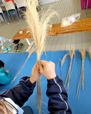 作り始めの時の写真、ブラシなどで白綿や穂の反りを直した後、6本にした束を紐で編込んでいる。最初が難しいようで苦労していた、一定間隔で結ぶ紐の方向も揃えながら…