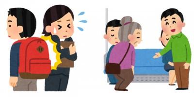電車の中でリュックをしょったままの人、お年寄りに席を譲る人、などの社内マナーについての画像