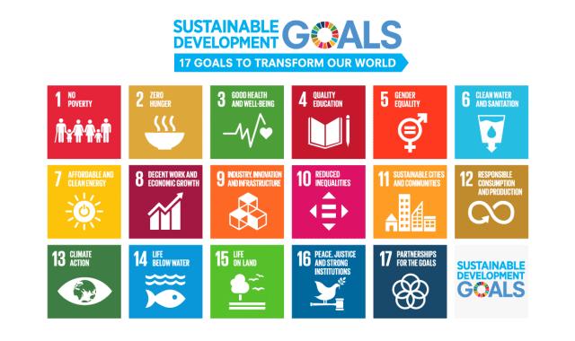 国連開発計画(UNDP)が提唱している「持続可能な開発目標(SDGs =SUSTAINABLE DEVELOPMENT GOALS)」のピクトグラムで示された画像