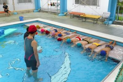 プールサイドに台を置いて、体を支えながらの泳ぎの基礎練習に励む子供たち