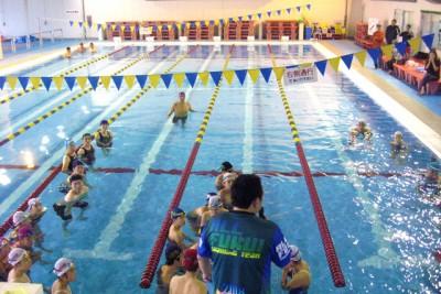 国体選手の講師が、細かく泳ぎ方を指導