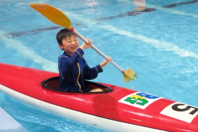 2月2日に行われたタイムトライアルで。夏に1回乗って今回が2回目のカヌーでしたが上手に漕げていました!今年の夏も海で挑戦するそうです!!