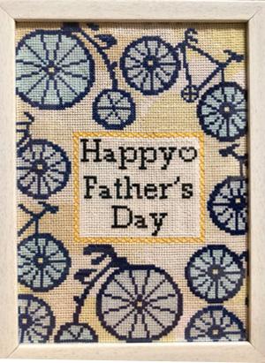 """今年の父の日にプレゼントしたもの(父の""""趣味""""の自転車を刺繍しました)"""
