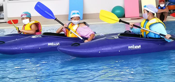 行こうよ 海洋センターへ! プールでカヌーに挑戦!「夏休みカヌー教室」 豊川市小坂井B&G海洋センター(愛知県)